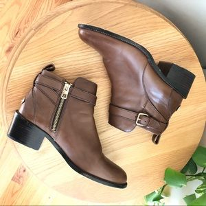 Coach Prudence Low Boot Brown with Gold Hardware